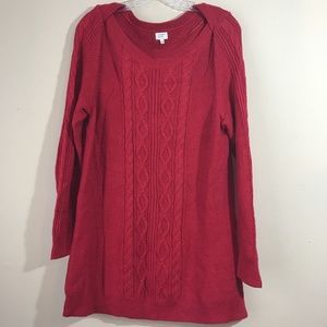 Crown Ivy Women's Sweater Large chunky red long